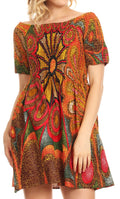 Sakkas Ife Wax African Ankara Colorful Cocktail Short Dress Off-shoulder w/pockets#color_501-Multi