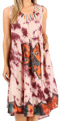 Sakkas Butterfly Tie Dye Tank Sheath Caftan Mid Length Cotton Dress#color_Beige