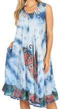 Sakkas Butterfly Tie Dye Tank Sheath Caftan Mid Length Cotton Dress#color_Blue