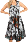 Sakkas Butterfly Tie Dye Tank Sheath Caftan Mid Length Cotton Dress#color_Charcoal