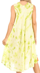 Sakkas Butterfly Tie Dye Tank Sheath Caftan Mid Length Cotton Dress