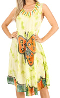Sakkas Butterfly Tie Dye Tank Sheath Caftan Mid Length Cotton Dress#color_Green