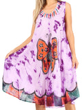Sakkas Butterfly Tie Dye Tank Sheath Caftan Mid Length Cotton Dress#color_Purple