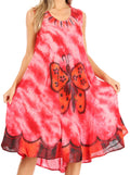 Sakkas Butterfly Tie Dye Tank Sheath Caftan Mid Length Cotton Dress#color_Red