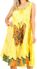 Sakkas Butterfly Tie Dye Tank Sheath Caftan Mid Length Cotton Dress#color_Yellow
