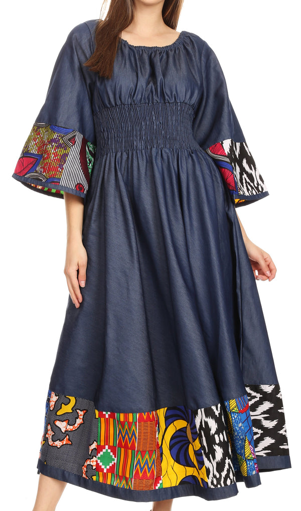 Sakkas Abayomi  Wax African Ankara Chambray Peasant Medieval Casual Long Dress#color_Chambray multi/tribal
