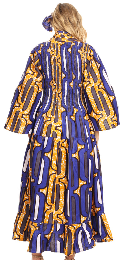 Sakkas Paola Women's  Maxi Long African Print Dress Evening Casual with Pockets