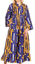 Sakkas Paola Women's  Maxi Long African Print Dress Evening Casual with Pockets#color_418-Blue/yellow