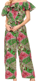 Sakkas Lelisa Ruffle Off-shoulder Long Jumpsuit w/pockets Wax African Ankara Dutch#color_117-GreenFuchsia