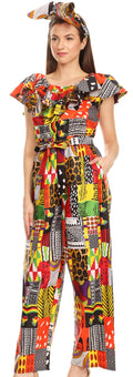 Sakkas Lelisa Ruffle Off-shoulder Long Jumpsuit w/pockets Wax African Ankara Dutch#color_146-Multi