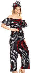 Sakkas Lelisa Ruffle Off-shoulder Long Jumpsuit w/pockets Wax African Ankara Dutch#color_28-Multi