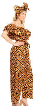 Sakkas Lelisa Ruffle Off-shoulder Long Jumpsuit w/pockets Wax African Ankara Dutch#color_30-Multi