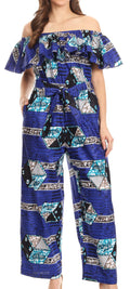 Sakkas Lelisa Ruffle Off-shoulder Long Jumpsuit w/pockets Wax African Ankara Dutch#color_408-royalblue/geometric