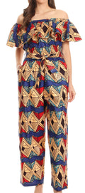 Sakkas Lelisa Ruffle Off-shoulder Long Jumpsuit w/pockets Wax African Ankara Dutch#color_416-sand/turq-diamond