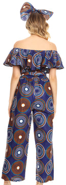 Sakkas Lelisa Ruffle Off-shoulder Long Jumpsuit w/pockets Wax African Ankara Dutch