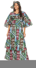 Sakkas Akela Womens Gypsy Peasant Boho Smocked Dress in African Ankara Print#color_2247-37-Multi