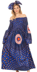 Sakkas Akela Womens Gypsy Peasant Boho Smocked Dress in African Ankara Print#color_23-Multi