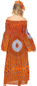 Sakkas Akela Womens Gypsy Peasant Boho Smocked Dress in African Ankara Print