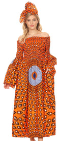 Sakkas Akela Womens Gypsy Peasant Boho Smocked Dress in African Ankara Print#color_24-Multi