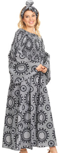 Sakkas Akela Womens Gypsy Peasant Boho Smocked Dress in African Ankara Print#color_26-BlackWhite