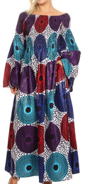 Sakkas Akela Womens Gypsy Peasant Boho Smocked Dress in African Ankara Print#color_413-Multi