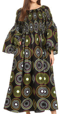 Sakkas Akela Womens Gypsy Peasant Boho Smocked Dress in African Ankara Print#color_422-Multi