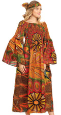 Sakkas Akela Womens Gypsy Peasant Boho Smocked Dress in African Ankara Print#color_501-Multi