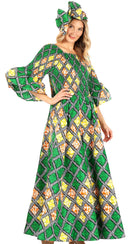 Sakkas Ina Women's African Ankara Print Wide Leg Jumpsuit Dress Of the Shoulder