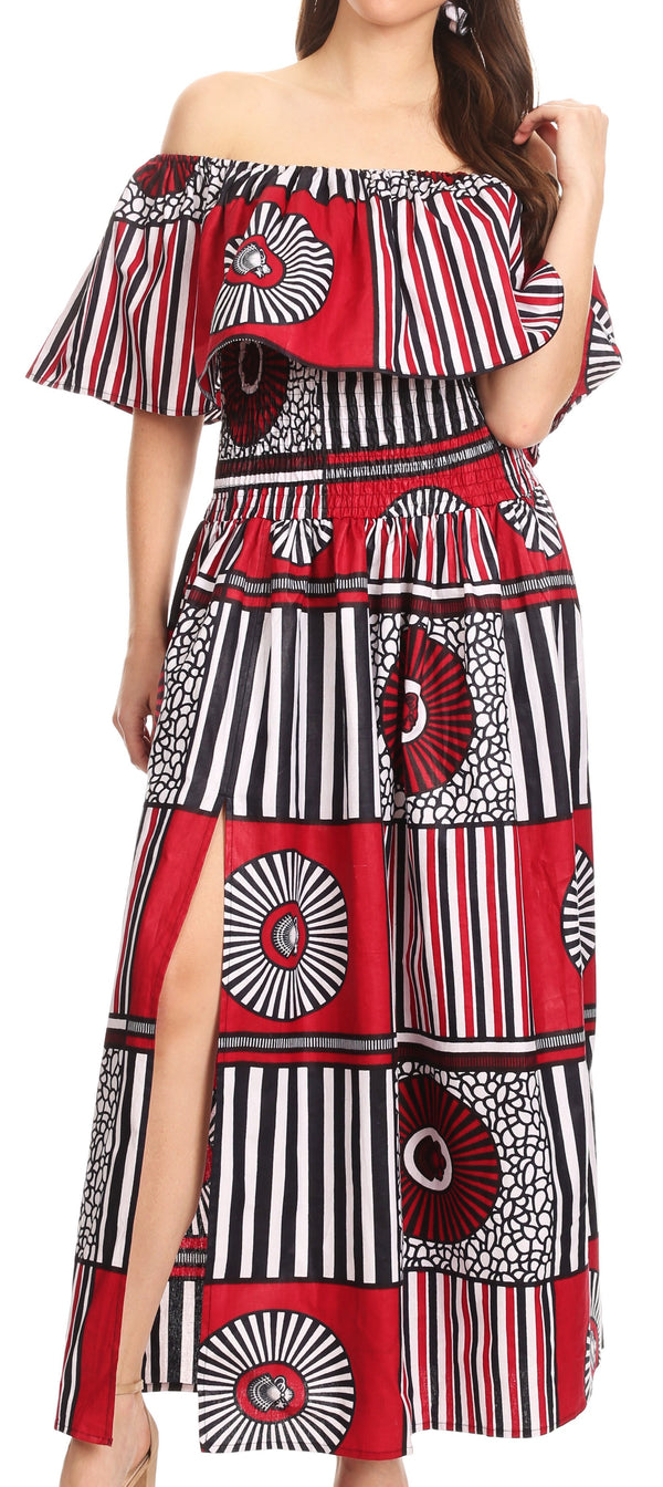 Sakkas Buhle Ruffle Off-shoulder Long Dress Wax African Ankara Dutch Print #color_411-burgundy/geometric