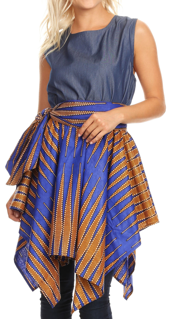 Sakkas Lani Womens Cocktail Sleeveless Hi-Lo Dress in African Print w/Pockets#color_401-Multi