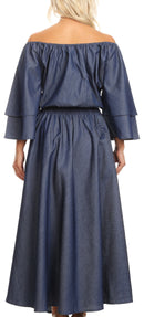 Sakkas Nohea Womens Chambray Flowy Maxi Peasant Boho Dress Flare with Pockets