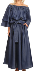 Sakkas Nohea Womens Chambray Flowy Maxi Peasant Boho Dress Flare with Pockets#color_Blue Chambray
