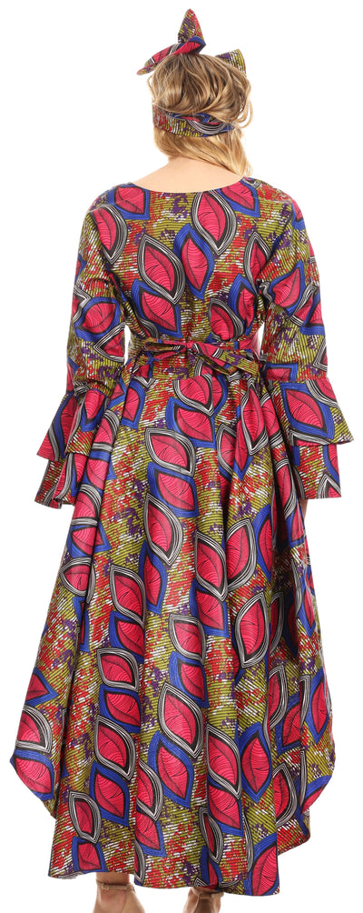 group-121-RoyalCranberryMulti (Sakkas Mavi Women's African Ankara Maxi Long Sleeve Dress Cocktail Formal Swing)