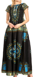 Sakkas Nataly Women's Maxi Off Shoulder Smock Dress African Dashiki Short Sleeve#color_Black
