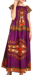 Sakkas Nataly Women's Maxi Off Shoulder Smock Dress African Dashiki Short Sleeve#color_Purple