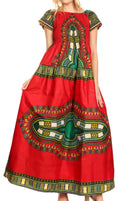 Sakkas Nataly Women's Maxi Off Shoulder Smock Dress African Dashiki Short Sleeve#color_Red