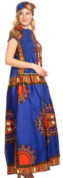 Sakkas Nataly Women's Maxi Off Shoulder Smock Dress African Dashiki Short Sleeve
