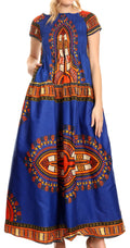 Sakkas Nataly Women's Maxi Off Shoulder Smock Dress African Dashiki Short Sleeve#color_Royal Blue