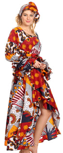 Sakkas Sofi Women's Long Sleeve High-low Dress African Ankara with Pockets Party