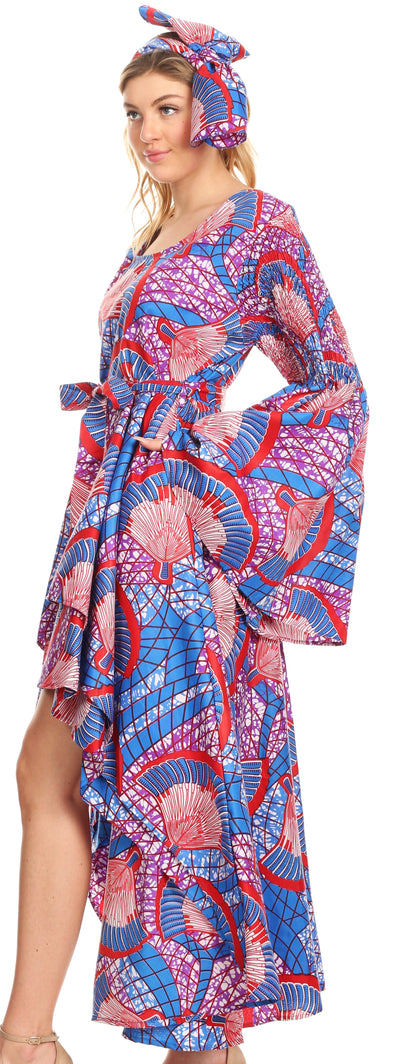 group-119-BlueRedMulti (Sakkas Olivia Women's Elegant Cocktail Long Sleeves Party Dress African Print)