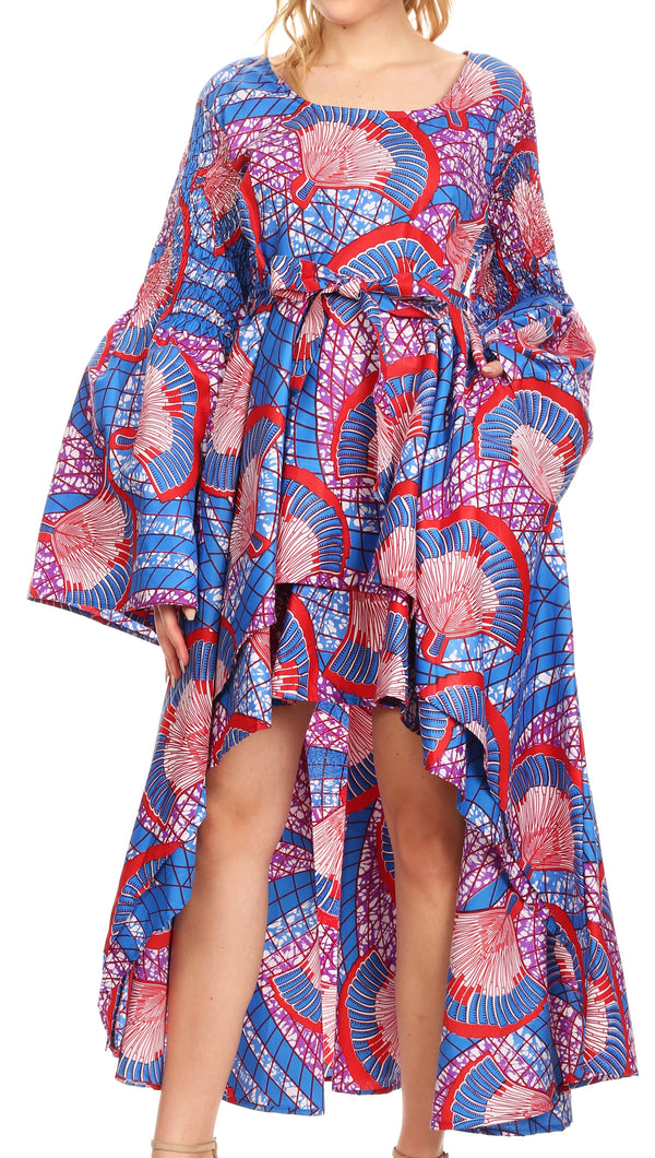 Sakkas Olivia Women's Elegant Cocktail Long Sleeves Party Dress African Print#color_119-BlueRedMulti