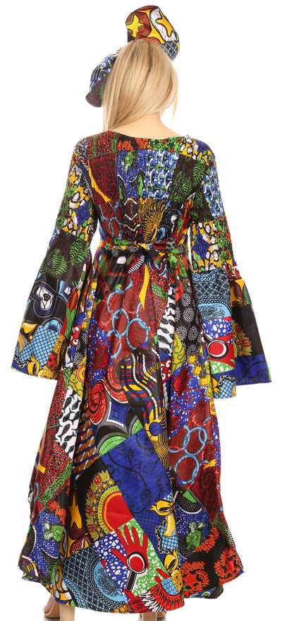 group-144-Multi (Sakkas Olivia Women's Elegant Cocktail Long Sleeves Party Dress African Print)
