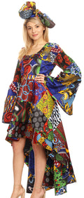 Sakkas Olivia Women's Elegant Cocktail Long Sleeves Party Dress African Print#color_144-Multi