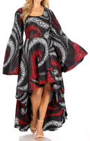 Sakkas Olivia Women's Elegant Cocktail Long Sleeves Party Dress African Print