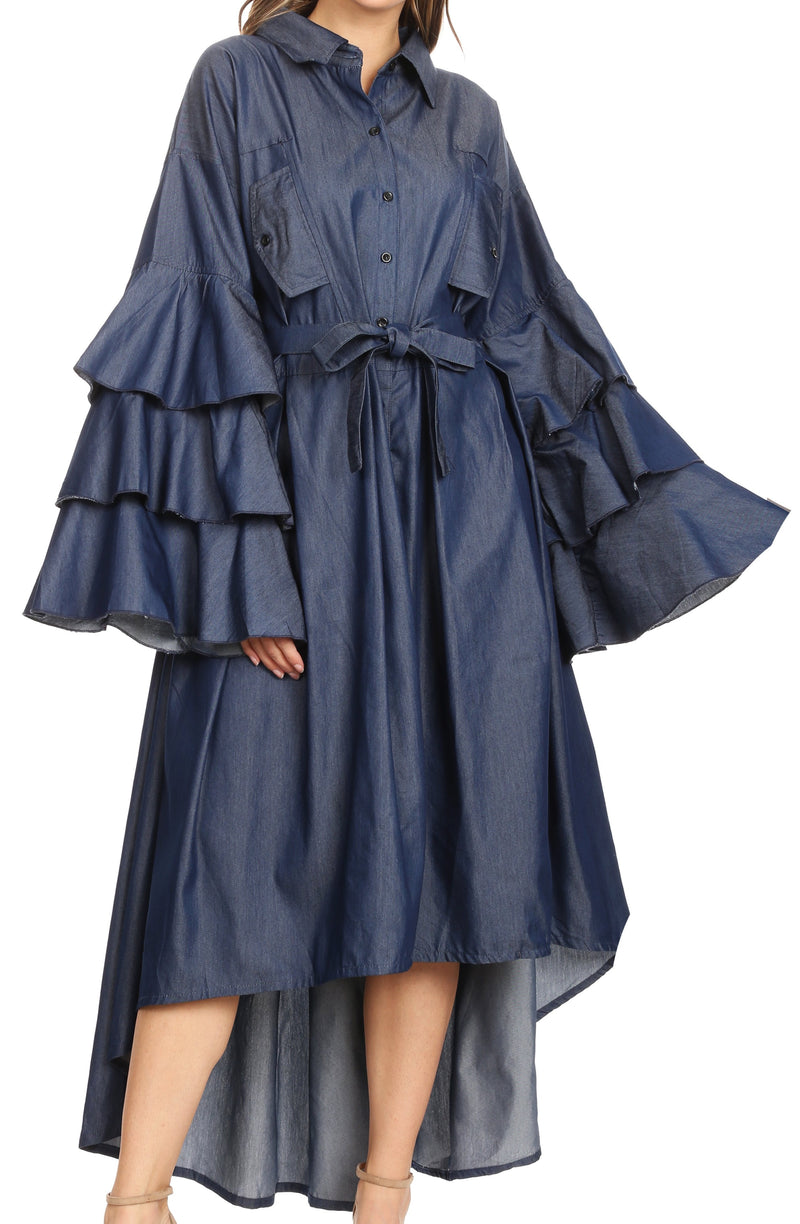 Sakkas Esila Women Chambray Long Sleeve Loose Plain Maxi Shirt Dress High-low Boho