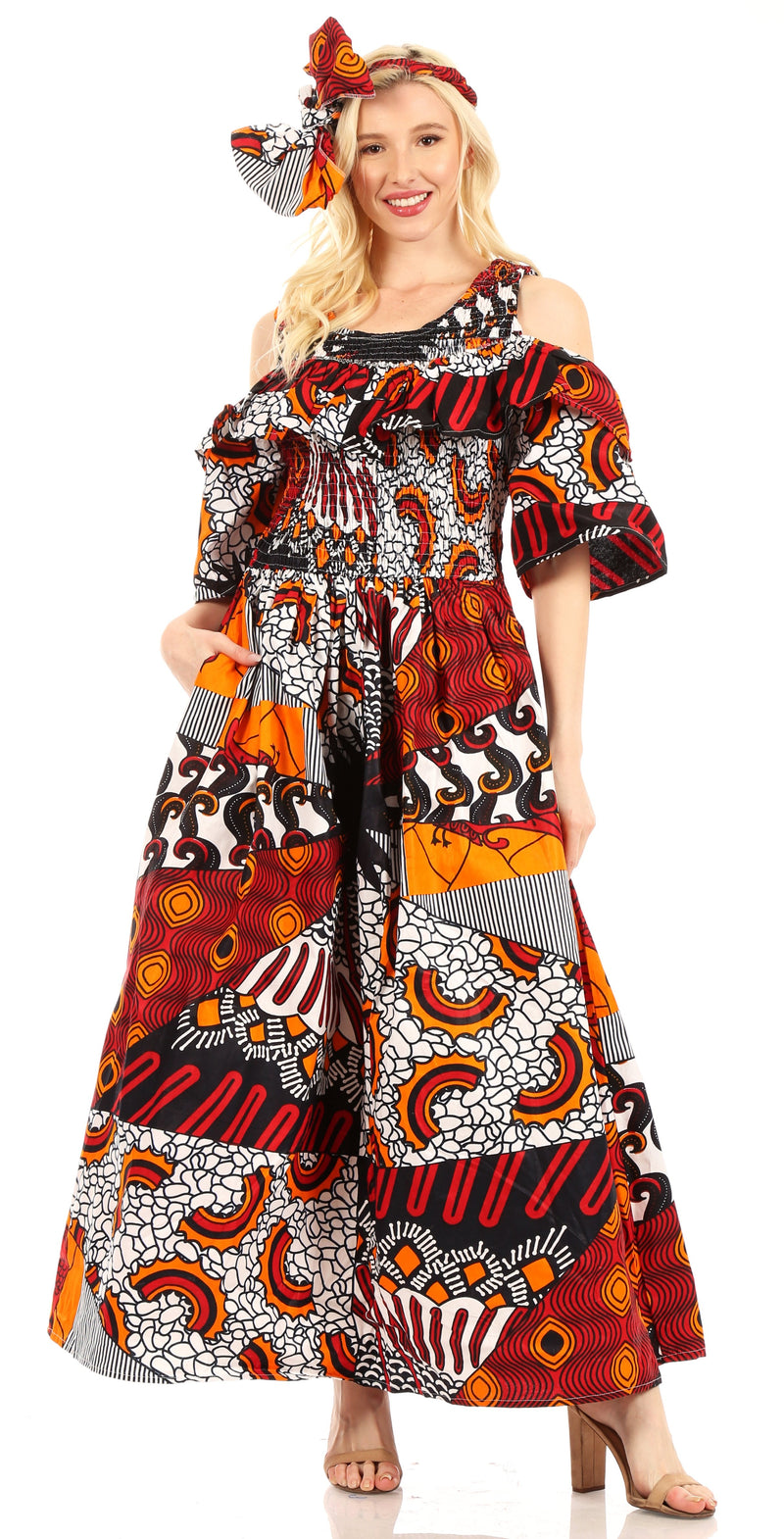 Sakkas Tany Women's Cold Shoulder Smocked Ruffled African Ankara Maxi Long Dress