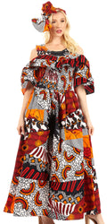 Sakkas Tany Women's Cold Shoulder Smocked Ruffled African Ankara Maxi Long Dress#color_120-WhiteNavyRed