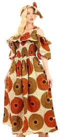 Sakkas Tany Women's Cold Shoulder Smocked Ruffled African Ankara Maxi Long Dress#color_36-OrangeWhite