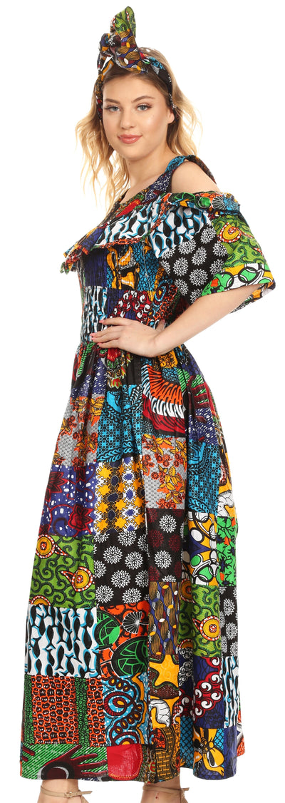 group-421-Multi (Sakkas Tany Women's Cold Shoulder Smocked Ruffled African Ankara Maxi Long Dress)