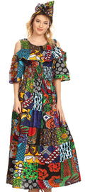 Sakkas Tany Women's Cold Shoulder Smocked Ruffled African Ankara Maxi Long Dress#color_421-Multi